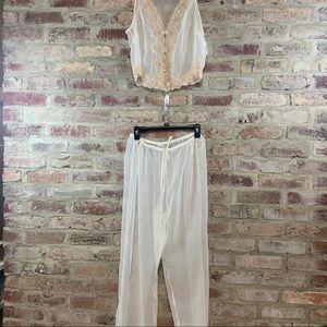 Fredricks of Hollywood sheer 2 piece pajama set
